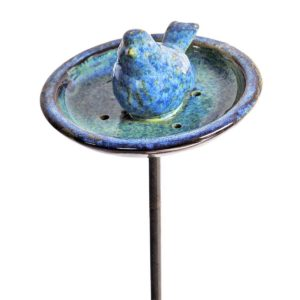 Mangeoire Oiseau Céramique émail bleu