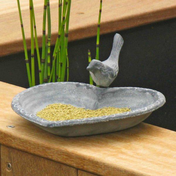 Mangeoire oiseau en fonte, modèle coeur