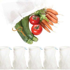 5 sacs réutilisables tissu bio fruits et légumes