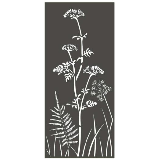Panneau décoratif extérieur en métal H.180cm - Ombellifères et fougère