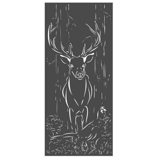 Panneau décoratif extérieur en métal H. 180cm - Sanglier et chouette