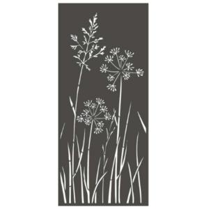 Panneau décoratif extérieur en métal H.180cm - Motif fleurs