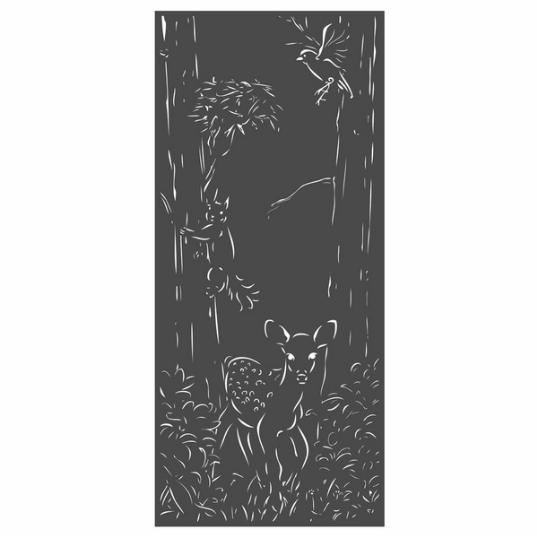 Panneau décoratif extérieur en métal H. 180cm - Faon et écureuil