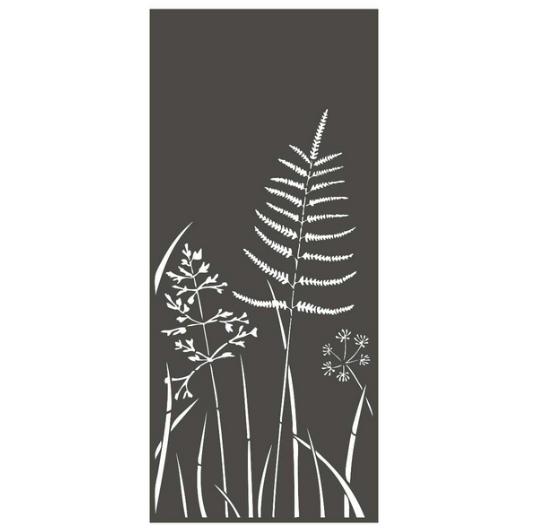 Panneau décoratif extérieur en métal H.180cm - Fougère et graminées